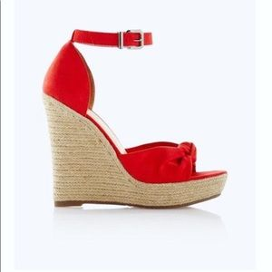 EXPRESS Knotted Espadrille Wedge Sandals— Red